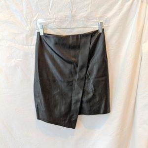 Zara Black Faux Leather Angled Skirt Size XS
